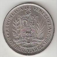 *Venezuela 2 Bolivar  1989  Km 43a2  Large  Letters   Unc - Venezuela