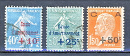 Francia 1927 Caisse D'Am. Y&T Serie N. 246 - 248 Usati - Sinking Fund