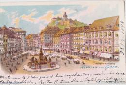 1898 Austria Gruss Aus Graz Chromolitho Pc Used Graz1898 To Munich - Graz