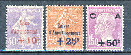 Francia 1928 Caisse D'Am. Y&T Serie N. 249 - 251 MH - Sinking Fund