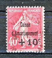 Francia 1930 Caisse D'Am. Y&T N. 266 C. 10 Su C. 40 Rosa Usato - Sinking Fund