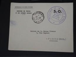 COTE D IVOIRE - LETTRE EN FRANCHISE D ABIDJAN POUR PARIS  LE 30/10/1959   A VOIR  LOT P3330 - Côte D'Ivoire (1960-...)