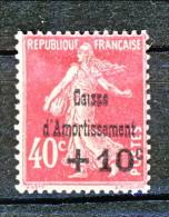 Francia 1930 Caisse D'Am. Y&T N. 266B C. 10 Su C. 40 Rosa VARIETA' (senza Punto Sulla 'i' Di Caisse) MH - Sinking Fund