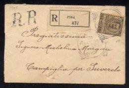 7 Mag 1905 - Sassone N. 75 - Raccomandata Da Pisa A Suvereto - Marcophilia