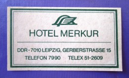 HOTEL PENSION LEIPZIG DDR MERKUR GERMANY DEUTSCHLAND ALLEMAGNE MINI STICKER LUGGAGE LABEL ETIQUETTE AUFKLEBER BERLIN - Adesivi Di Alberghi