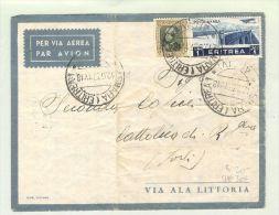 Afrika Eritrea 1937-06-12 Luftpostbrief Suara > Cattolica - Erythrée