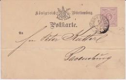Württemberg K3 Schwenningen Ganzsache P 22 N Ravensburg 1877 - Wuerttemberg