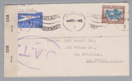 Südafrika 1944-10-19 O.A.T. Airmail Nach San Francisco USA - Afrique Du Sud (1961-...)