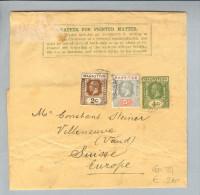 Afrika Mauritius Ca.1933 Streifband > Villeneuve(Steiner) CH - Maurice (1968-...)