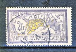 Francia 1900 Merson Y&T N. 122 Fr. 2 Violetto E Giallo Usato - 1900-27 Merson