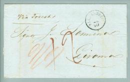 Afrika  Aegypten österr.Post Alexandria 1854-10-19 über Triest Nach Livorno - Levant Autrichien