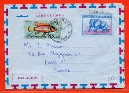 BURUNDI AEROGRAMME ELEPHANT DE 1968 DE BUJUMBURA POUR PARIS FRANCE - Burundi