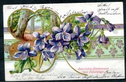 """CPA Color Relief Anlaßkarte German Empires Geburtstag 1907""""Herzlichen Glückwunsch Zum Geburtstag,Gold,""""1 AK Used,bef - Birthday"""