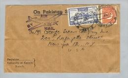 Details Zu  Pakistan 1953-01-21 Flugpostbrief > New York 1R+2As - Pakistan