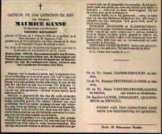 Souvenir Mortuaire GANNE Maurice (1892-1958) Geboren En Overleden Te PROVEN Oudstrijder 14/18 Gemeenteraadlid Van Proven - Santini