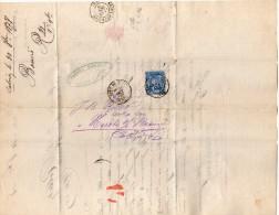 TB 718 - Lettre De SALINS Mr A. BOUVET OB Gare De MOUCHARD Pour NUITS - Marcophilie (Lettres)