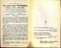 Souvenir Mortuaire VANDENBERGHE Cyrille (1886-1963) Geboren Te RENINGELST Overleden Te POPERINGE - Oudstrijder 14/18 - Images Religieuses