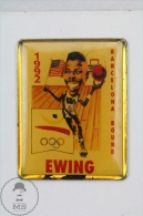 Basketball Player Caricature, Barcelona Bounda 1992 Olympic Games - Ewing - Pin Badge #PLS - Basketball