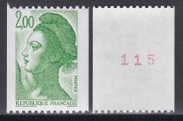 2487aLiberté 2f Vert (roulette Avec Numéro Rouge) - 1982-90 Liberté De Gandon