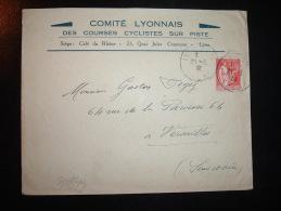 LETTRE TP PAIX 50C OBL.21-3-33 LYON GARE RHONE (69) COMITE LYONNAIS DES COURSES CYCLISTES SUR PISTE CAFE DU RHONE - Ciclismo