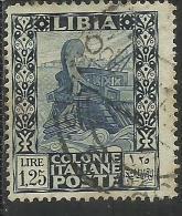 LIBIA 1931 PITTORICA E SIBILLA LIRE 1,25 DENT. PERF. 14 USATO USED OBLITERE´ - Libya