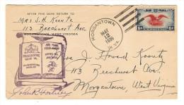 ENVELOPPE  MARCOPHILIE MORGANTOWN WEST VIRGINIA , Tampon : MORGANTOWN MAY 12 . 1939 W.VA AIR MAIL - Morgantown