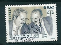 2002 FALCONE E BORSELLINO  0,62 €  USATO - 6. 1946-.. Repubblica