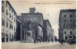 UMBRIA-PERUGIA VEDUTA PIAZZA UMBRTO  I  VEDUTA MONUMENTO AL PERUGINO ANIMATISSIMA - Perugia
