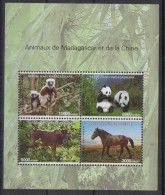 Madagascar Madagaskar 2014 Mi. 322x Chine Bloc Sheet Block China Joint Issue Faune Fauna Panda Horse Pferd Lemurien - 1949 - ... People's Republic
