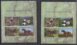 Madagascar Madagaskar 2014 Chine SILK + NORMAL Bloc Sheet Block China Joint Issue Faune Fauna Panda Cheval Horse Pferd - 1949 - ... People's Republic