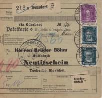 Germany; Packet Card To Czechoslovakia 1928 W. Czech Due Stamps - Alemania
