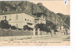 CPA (06) MENTON -Garavan , Villa Géna, Résidence Président Krüger - (006) - Menton