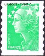 France Autoadhésif N°  211 ** Au Modèle 4229 - Marianne De Beaujard - TVP Vert - Adhésifs (autocollants)
