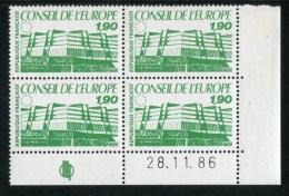 """Bloc De 4 Timbres** De 1986  """"1,90 F - Conseil De L´Europe"""" Avec Date 02.12.86 - Coins Datés"""