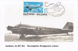 Bulgaria  Maxi Card  Old  Aircraft  Airplane Junkers Ju-52 Carte Maximum - Vliegtuigen