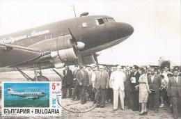 Bulgaria  Maxi Card  Old  Aircraft  Year 1947 -  Airplane Li-2 Carte Maximum - Vliegtuigen