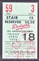 LOS  ANGELES  COLISEUM   DODGER´S  TICKET  STUB    APRIL  1958 - United States
