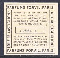 VIGNETTE  PARIS  PARFUMS  FORUIL - Advertising