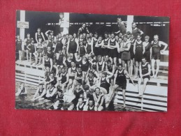 Large Group of swimmers with the Oaks  on shirts RPPC    - ref 1775