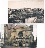 TOUHARS . 79 . Vue Générale .+ Porche De L'église .1933 . Lot De 2 Cartes . - Thouars
