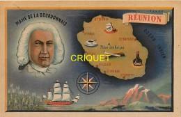 La Réunion, Illustrateur Sogno, Carte De L'Ile Et Mahé De La Bourdonnais, Voilier, Rose Des Vents... - La Réunion