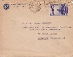 PARIS 1 - 8-9-1936 - N°320 SEUL SUR LETTRE POUR NEW-YORK . - 1921-1960: Modern Period
