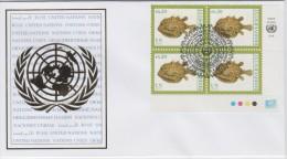 United Nations FDC Mi 644 International Year Of Biodiversity - Fish - Block Of Four - 2010 - Centre International De Vienne