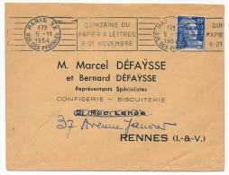 """Enveloppe - OMEC De Paris XX Rue Des Pyrénées - """"Quinzaine Du Papier à Lettres 8-21 Novembre"""" 1954 - Oblitérations Mécaniques (flammes)"""