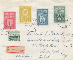 Armoiries - Belgique - Lettre Recommandée De 1946 ° - Oblitération Kortrijk - Exp Vers Les Etats Unis - New York Church - Covers & Documents
