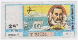 Loterie Nationale 1965 - 28 ème Tr.- Entier De 26 F.- R.E. Peary Ours Polaire - Lotterielose