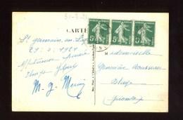 - FRANCE 1921/30 . AFFRANCHISSEMENT COMPOSE AVEC 5 C. VERT SEMEUSE CAMEE SUR CP DE 1921 . - Francia