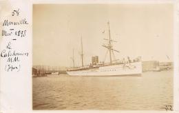 BOUCHES DU RHONE  13  MARSEILLE  PAQUEBOT  LE CALEDONIEN MESSAGERIES MARITIMES  CARTE PHOTO   PIONNIERE(PHOTO DE 1898) - Marseilles