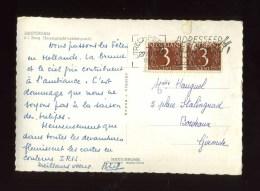 - PAYS BAS 1960/69 . AFFRANCHISSEMENT COMPOSE SUR CP DE 1968 POUR LA FRANCE . - Covers & Documents