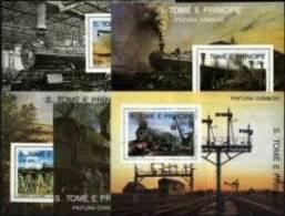 SAO TOME AND PRINCIPE, 1989, TRAINS, RAILWAY, R#B.222-26, SS, MNH - Sao Tomé E Principe